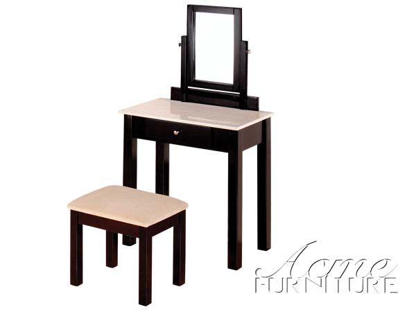 Belva White Faux Marble Top 2pc Vanity Set Makeup table & stool