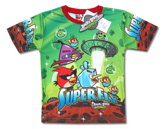 New Angry Birds Space Green Boy Girl Kid T Shirt Size 4 14 Age 3 9