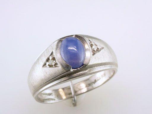 Antique Deco Blue Star Sapphire Diamond 1 3ct Mens Ring