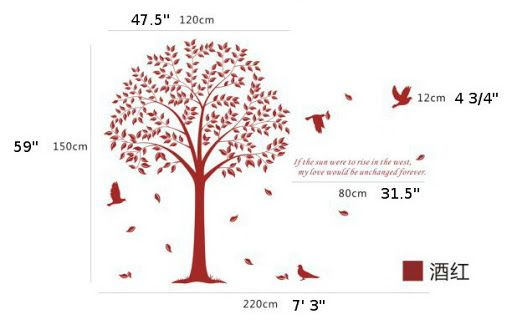 Hot Sale Large Bodhi Tree Birds Wall Sticker Decal Size 59 x 86 1 2
