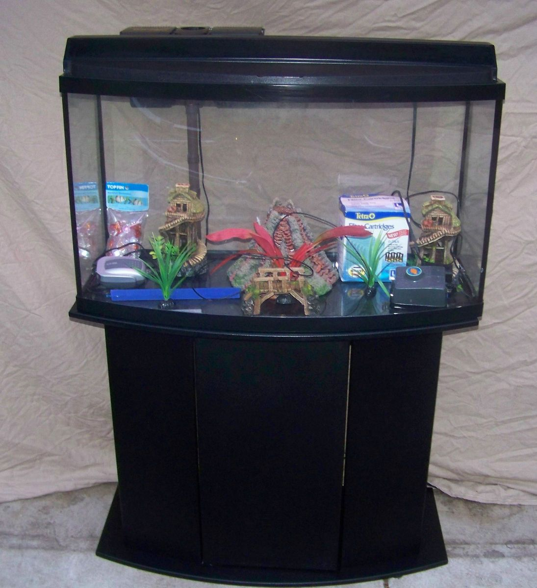 46 Gallon Bow Front Fish Tank Complete Set Up 29 30 55 75 90 125