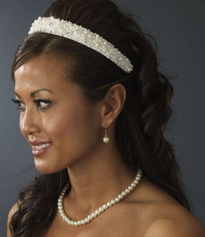 White Bridal Headband w Swarovski Crystals Rhinestones and Pearls