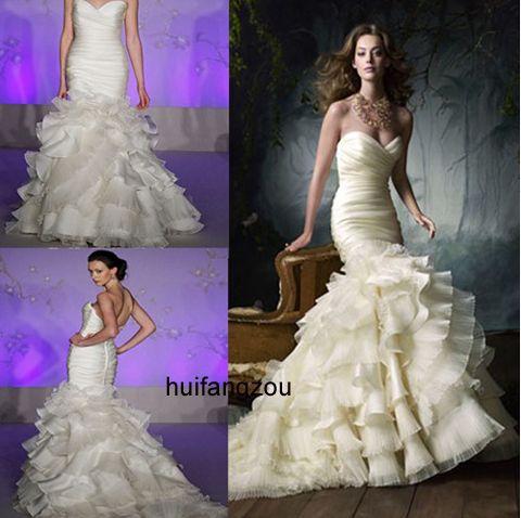 Organza Newest Bridal Wedding Prom Party Evening Dress Gown