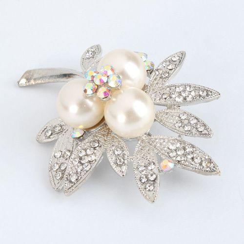 New Leaf Rhinestone Imitation Pearl Brooch Pin Silver White