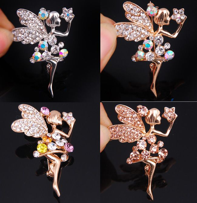 wholesale 4pcs CZ crystal rhinestone angel brooch pins jewelry