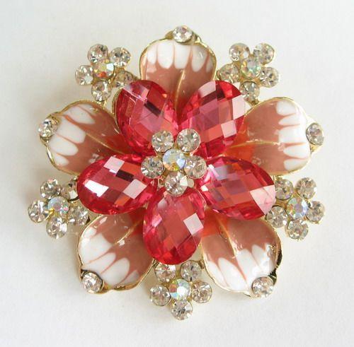 Vary Colors Big Swarovski Crystal Golden Flower Pin Brooch 1110