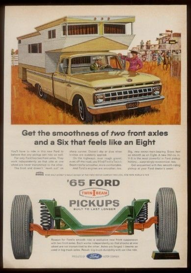 1965 Tan Ford Pickup Truck w camper Shell Vintage Print Ad