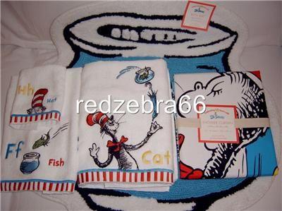 Dr Seuss Cat In The Hat Bath Mat Towel Shower Curtain Set 5pc