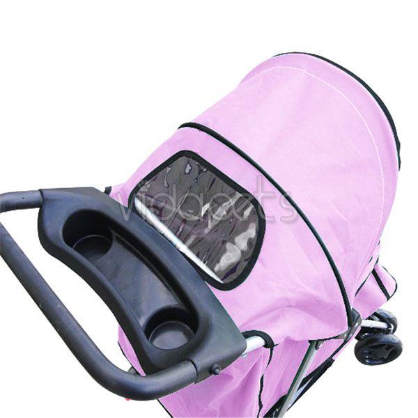 Pink 4 Wheels Folding Pet Dog Cat Stroller CARRIER HEAVY DUTY