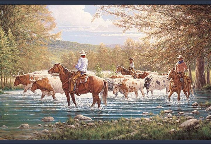 Cowboy Cattle Drive Wallpaper Border LL50301B Horse Western Ranch
