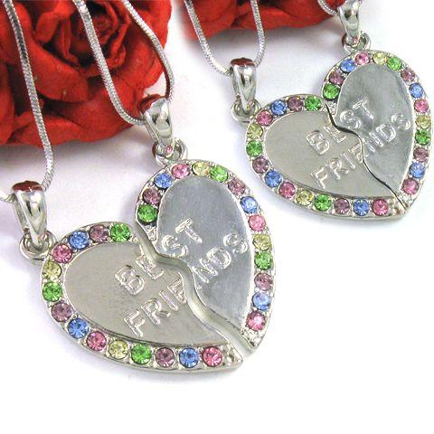 Multi Colorful Best Friends BFF Heart Pendant Necklace