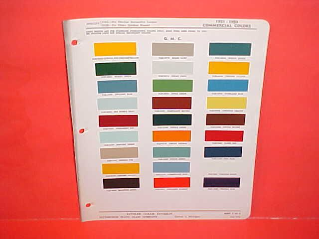 1952 1953 1954 GMC TRUCK PAINT CHIPS COLOR CHART BROCHURE 51 52 53 54