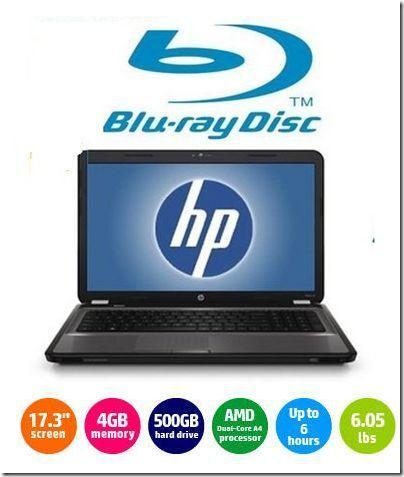 Brand New HP 17 3 LED Laptop Dual Core Blu Ray DVD 4GB RAM 500 GB HD