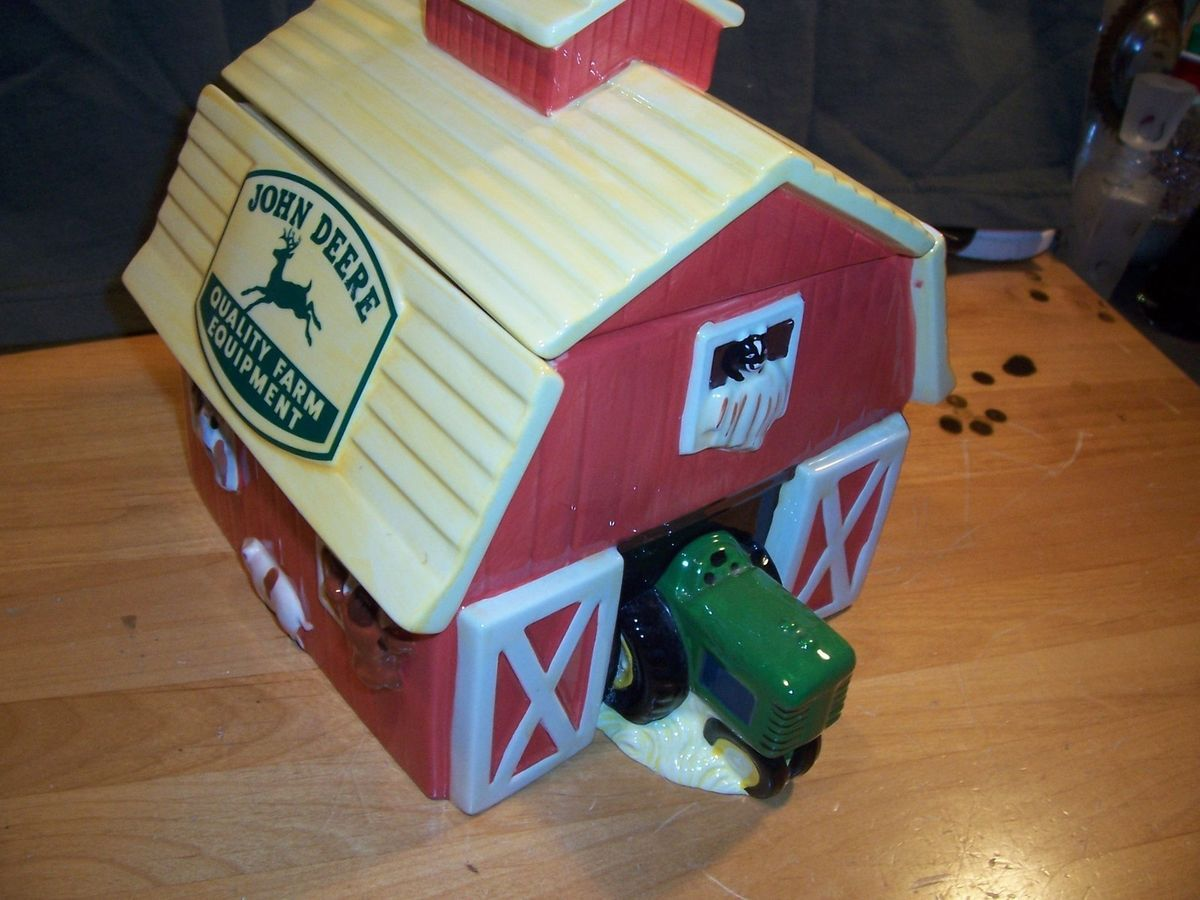 TRACTOR Ceramic COOKIE JAR COW Red Barn FARM Horse PIG Cat GIBSON
