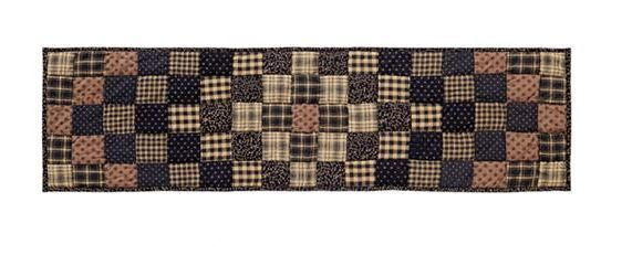 Primitive Country COLFAX 48 Quilted Table Runner Black, Tan, Brown