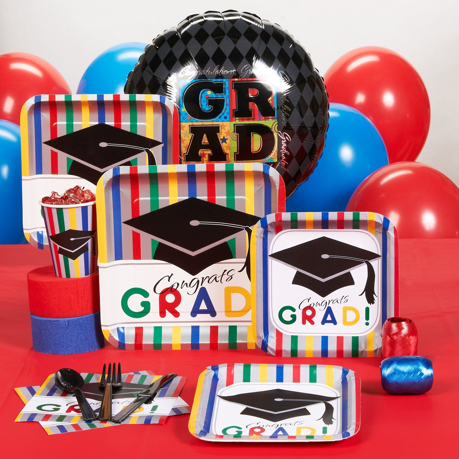 High School College Graduation Party Pack Supplies Kit Balloons Plates