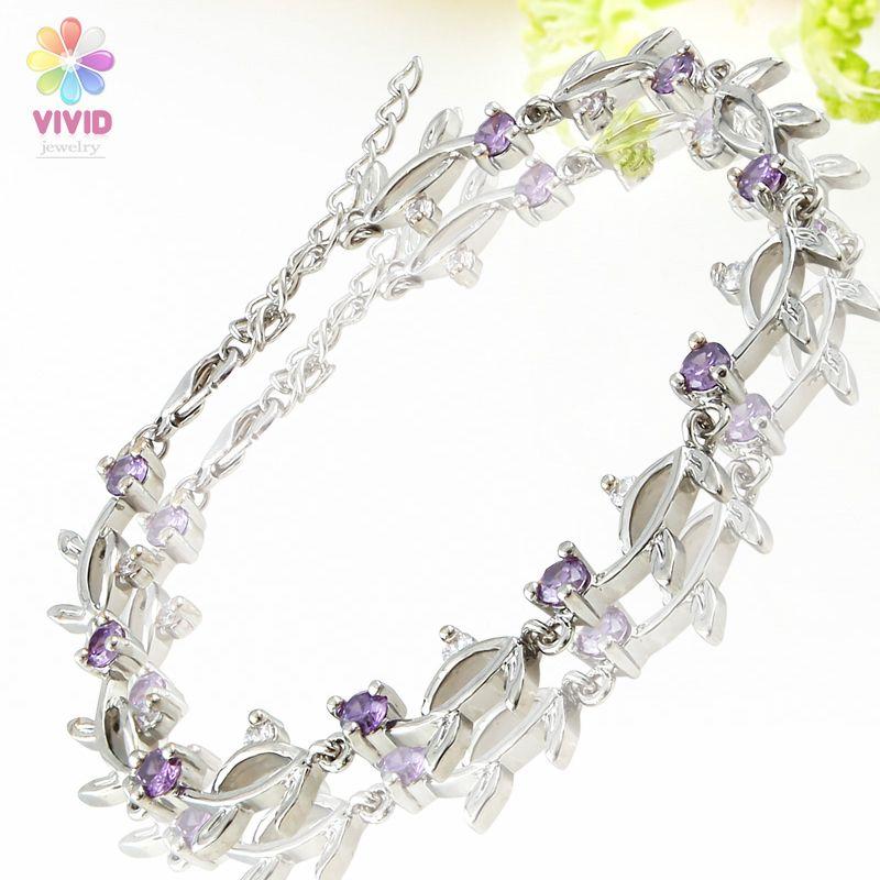 Fashion Jewelry Lady Gift Purple Amethyst Gold GP Tennis Bracelet