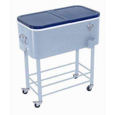 Quart Standing Patio Cooler Ice Chest Beverage Tub with Wheels