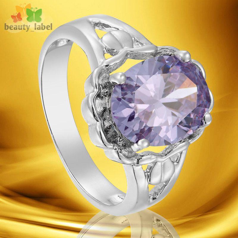 Fashion Party Jewelry Purple Tanzanite Oval Cut GP White Gold Ring 7 O