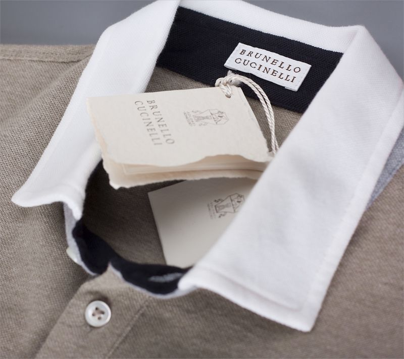 Classic pique cotton Brunello Cucinelli polo shirt with embroidered