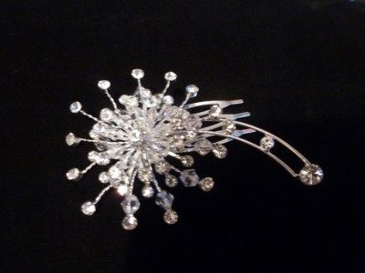 Beautiful Silver Plated Crystal Hair Comb Flower Design Bridal