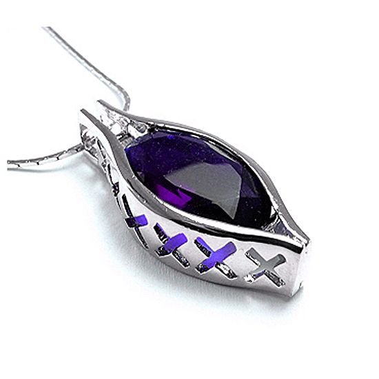 Fashion Jewelry Gift 2cm Big Purple Amethyst White Gold GP Pendant