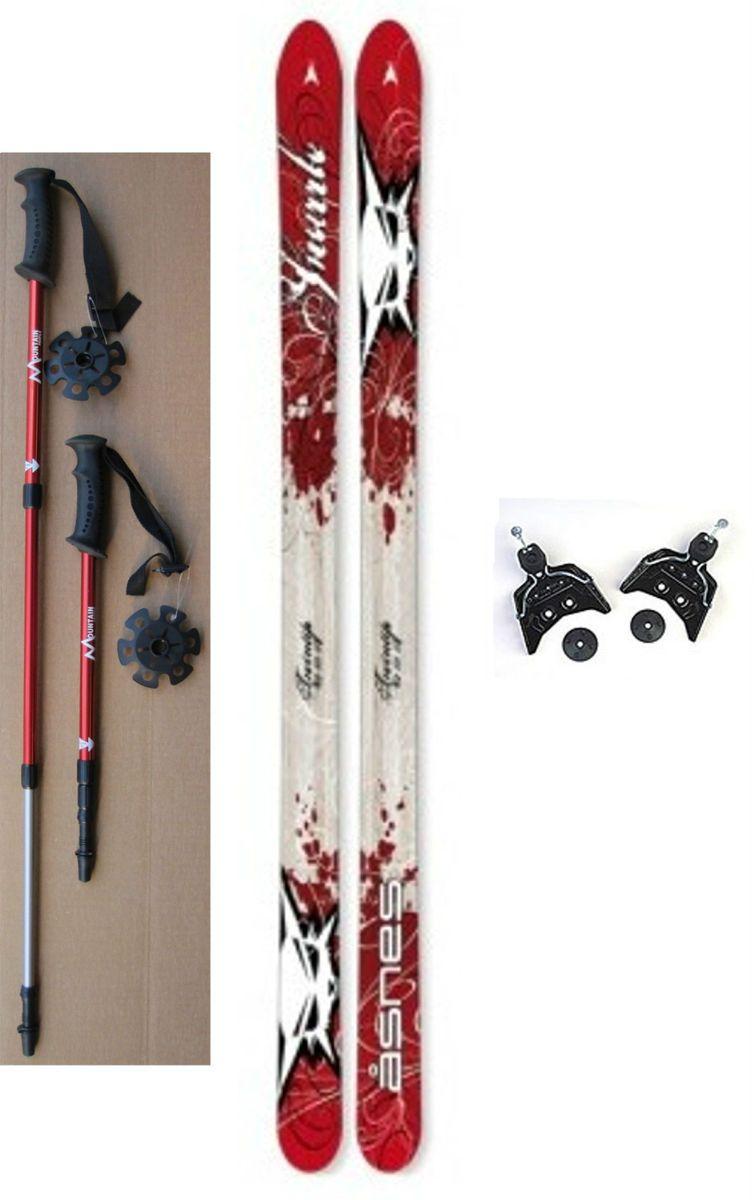 NEW Kids 75mm Cross Country SKIS/BINDINGS/POLES  110/120/130cm  Wood