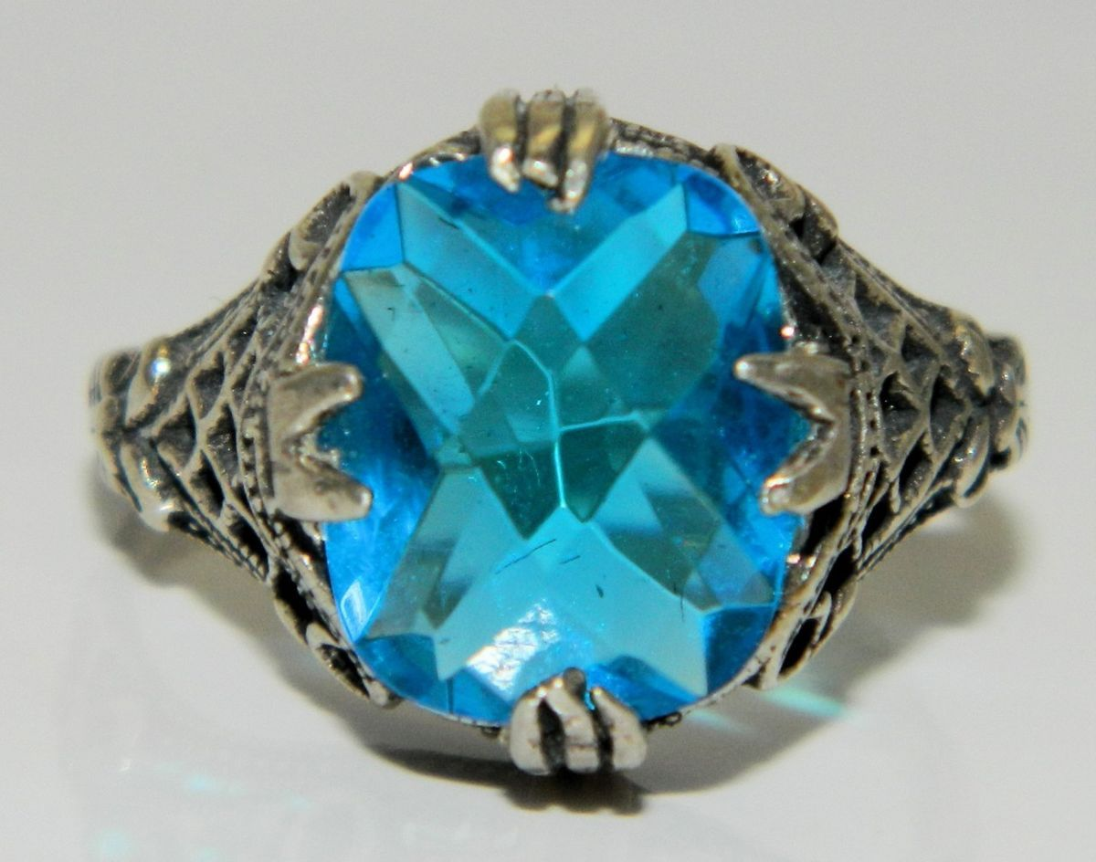 Blue Topaz Cushion Checkerboard Cut Open Filigree Silver Ring