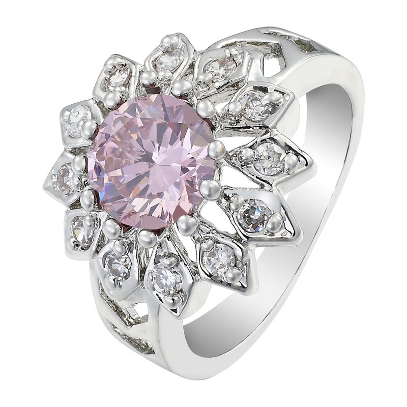 Round Cut Pink Sapphire White Gold GP Silver Tone Cocktail Ring ZY Sz