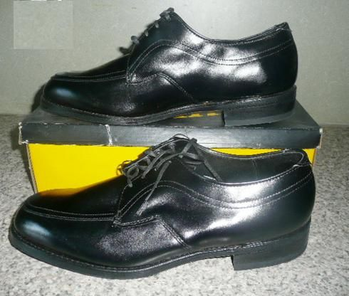 New Old 80s 90s Vtg Black Tie Oxford Shoes 10 3E XW w Box 548