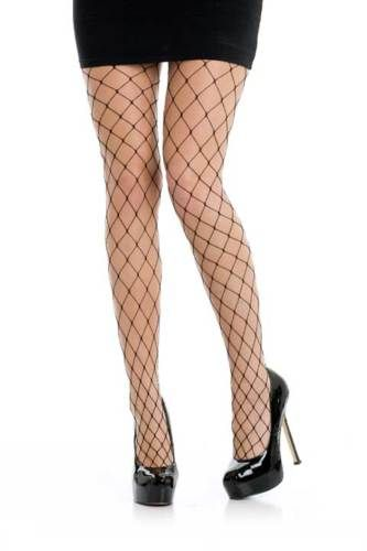 Adult Black Fishnet Tights with Large Holes Dress UPS