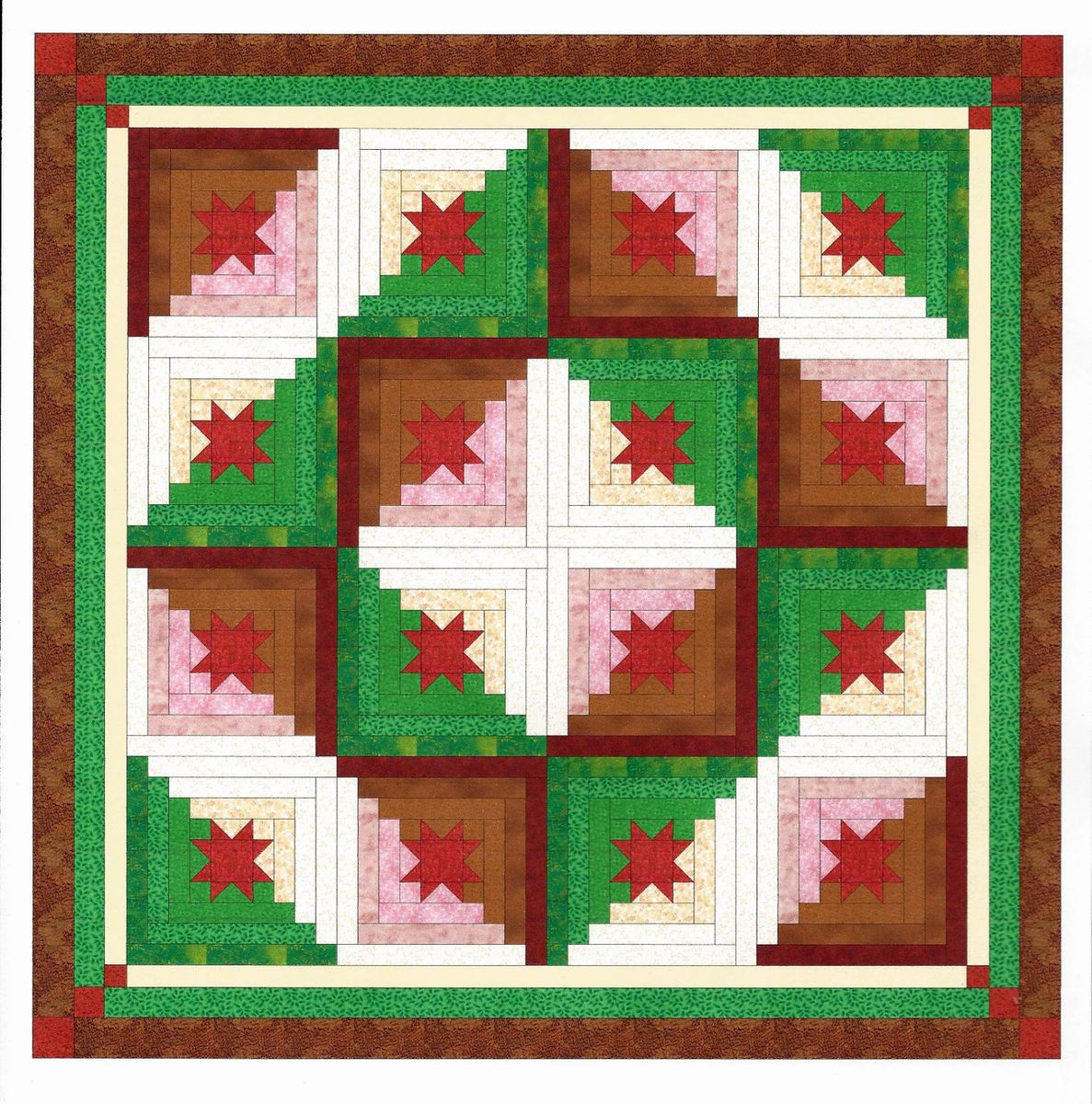 Easy Quilt Kit Welcome Christmas Log Cabin Star Pre Cut