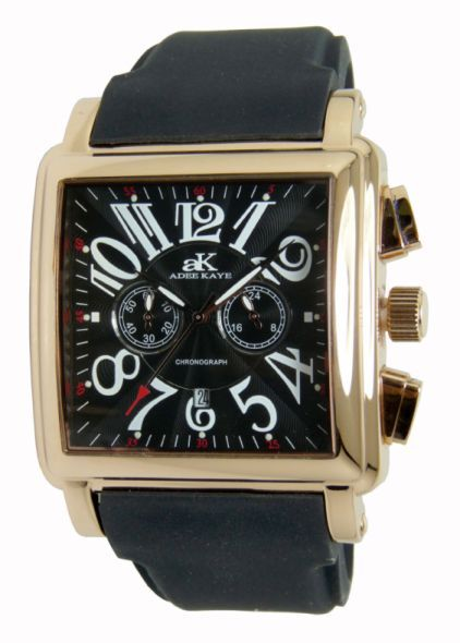 Adee Kaye Mens Blue Dial Square Rose Gold Tone Chronograph Watch