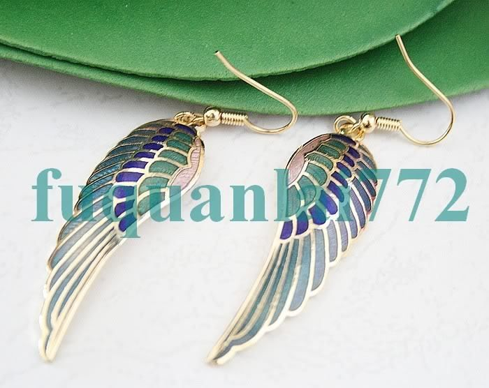 Gold Plated Cloisonne Angel Wing Dangle Earrings 3212