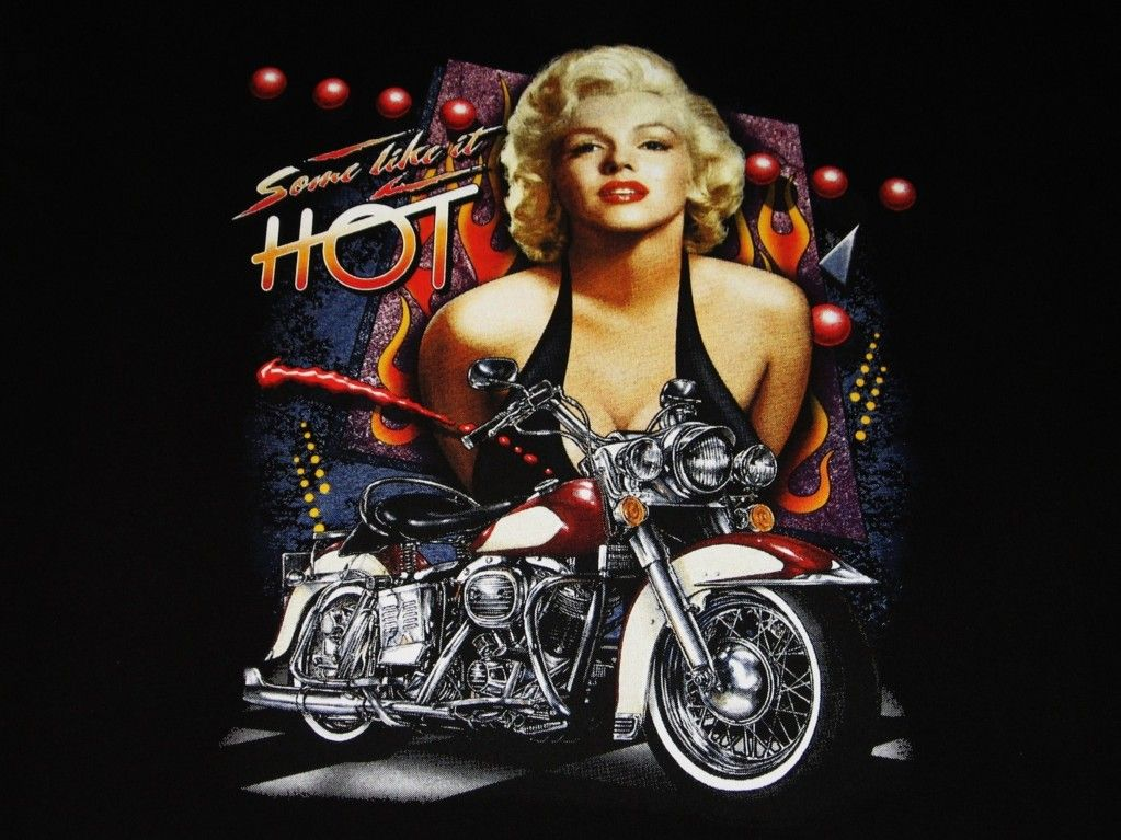 Some Like It Hot T Shirt Marilyn Monroe Biker Bike Motorcycle Ride