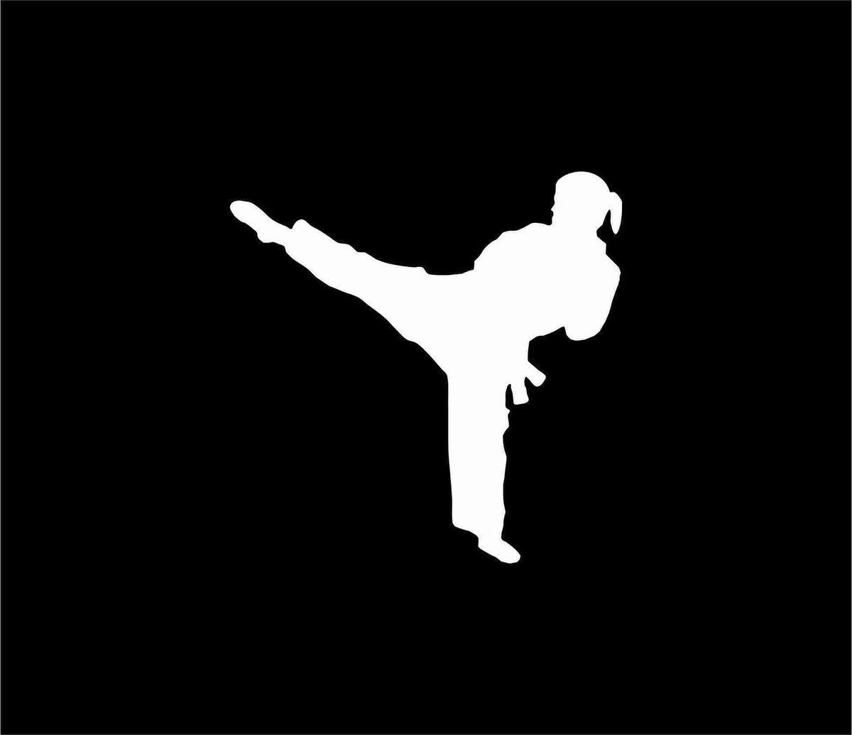 Female Karate Figure White Vinyl Car Window Sticker Decal