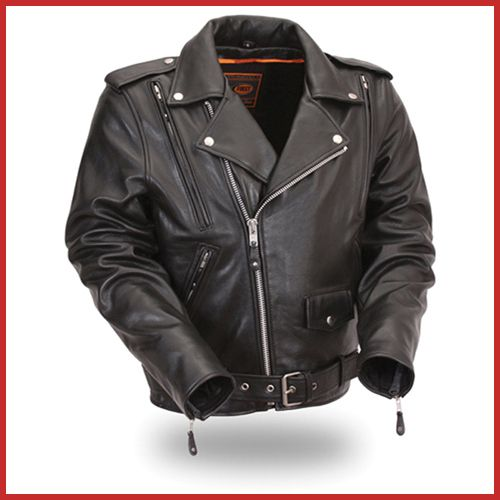 First Mfg Mens Black Leather Motorcycle Jacket FIM265PFBZ 3X