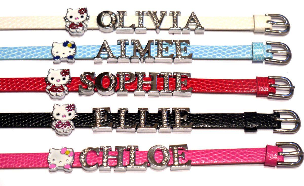 Hello Kitty Charm Friendship Rhinestone Letter Bracelet Gift