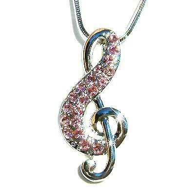 Crystal Treble G Clef Music Note Musical Charm Pendant Necklace