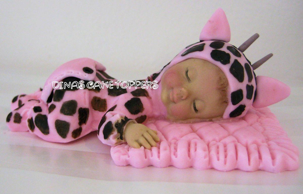 Pink Giraffe Cake Topper Baby Shower 1st Birthday Favors Decorations
