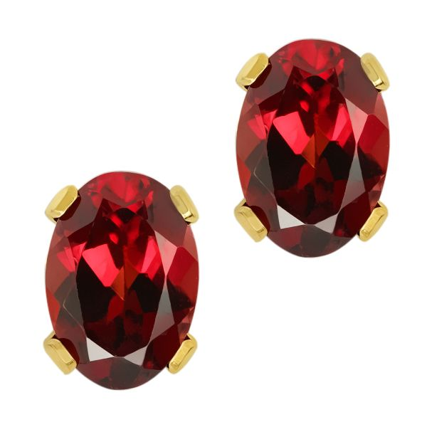 20 Ct Oval Genuine Red Garnet Yellow Gold Plated Stud Earrings 7x5mm