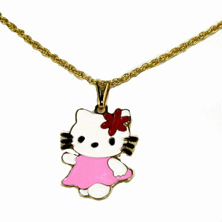 Gold 18K GF Kids Childs Necklace Hello Kitty Pink Baby Pendant Charm