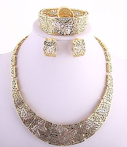 Lace Gold Plated Necklace Bracelet Earring Ring Set