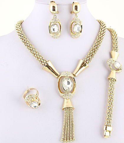 Royal Gold Plated Necklace, Bracelet, Earring & Ring Set w/ Rhinestone