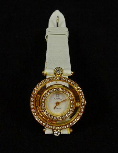 Vintage Giordano Ladies Watch Quartz Women Rhinestones Gold Tone White