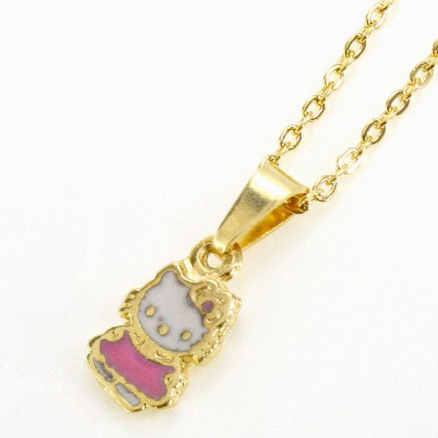 Gold 18K GF Pink Kitten Hello Kitty Enamel Pendant Charm Necklace Girl