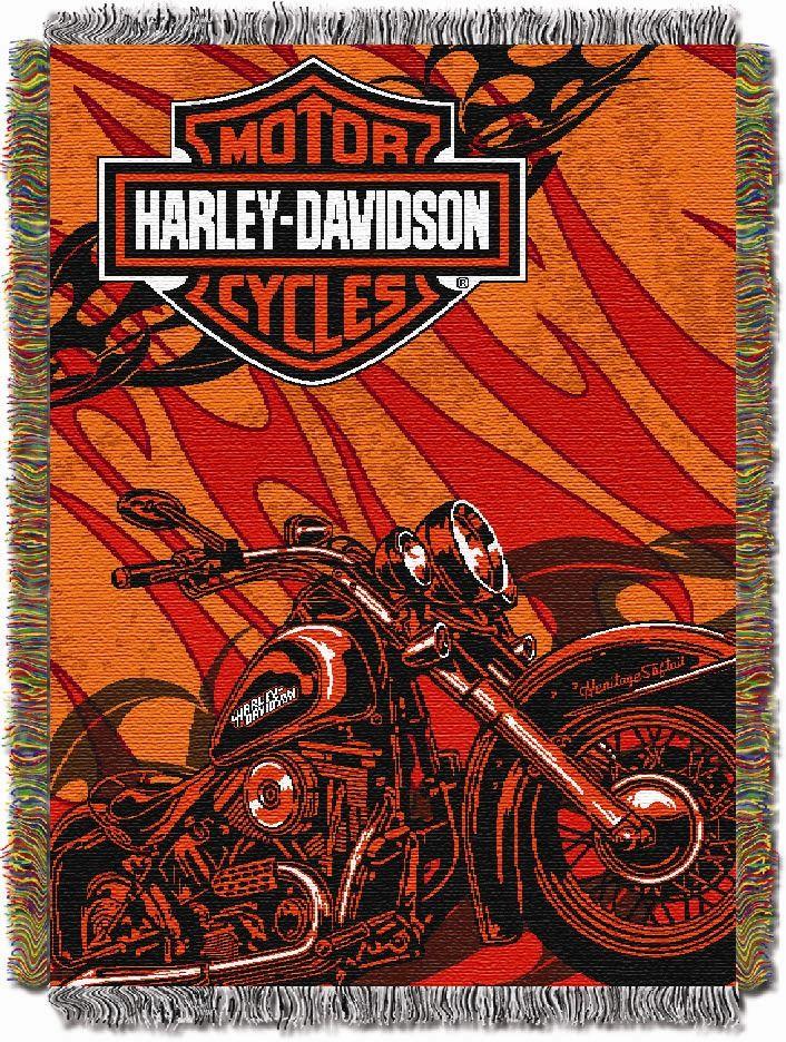 Harley Davidson HD Motorcycle Bar Shield Logo Orange Tapestry Throw