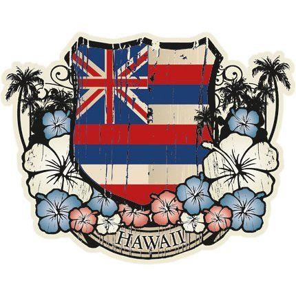 Hawaiian Flag Emblem Sticker Decal from Hawaii