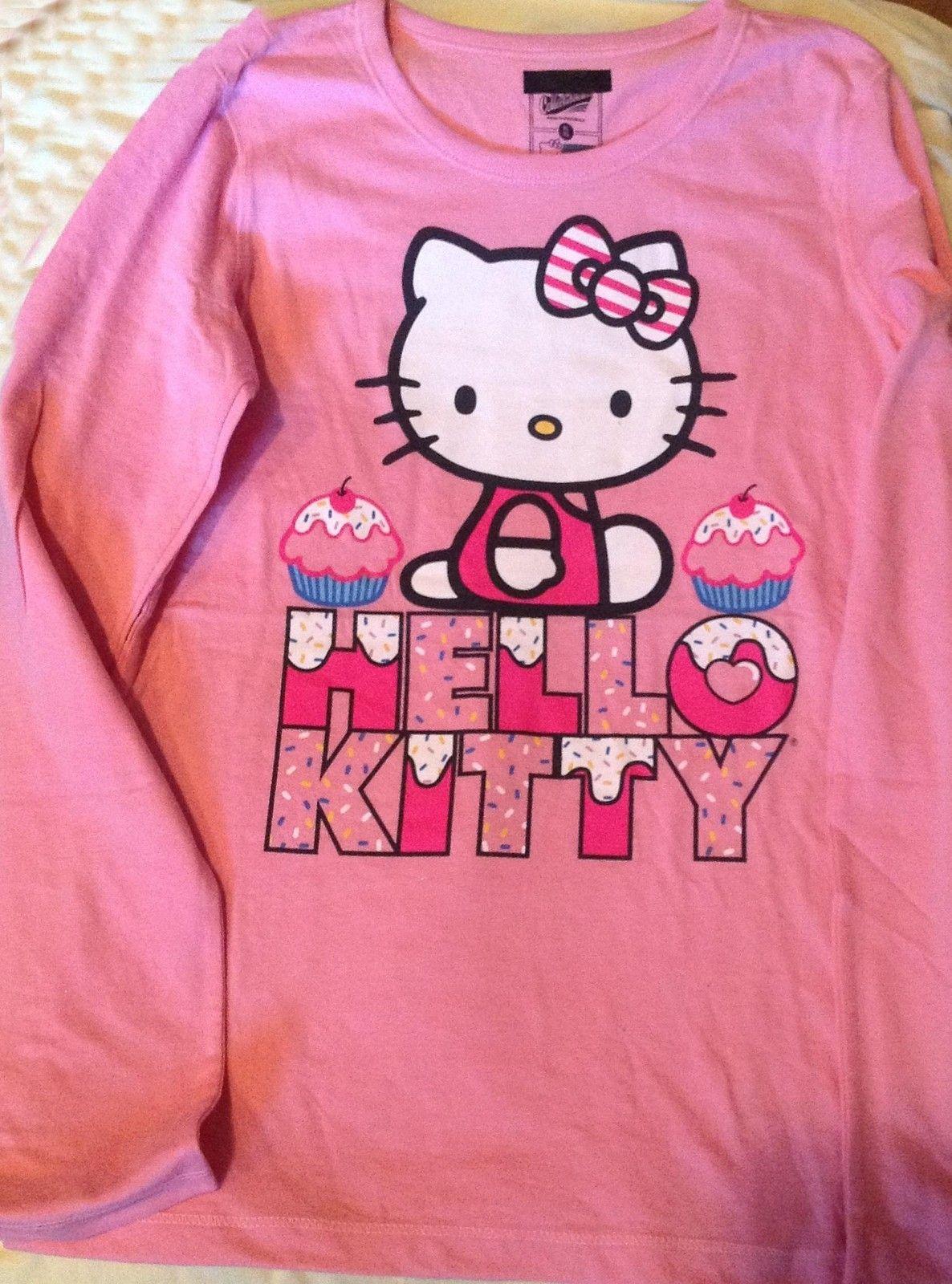 Navy HELLO KITTY Girl sz X Large 14 Pink CupCake Long sleeve Tee Shirt