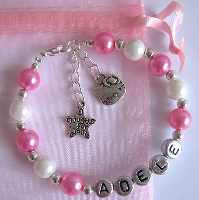 Girls Personalised Hello Kitty Charm Christmas Bracelet Necklace